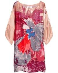 Tibi | Pink Viola Watercolor-print Silk Dress | Lyst