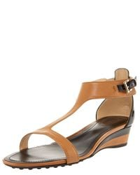 TOMS | Brown T-strap Low-wedge Sandal | Lyst