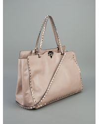 Valentino | Beige Studded Leather Tote | Lyst