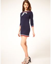ASOS Collection - Blue Knitted Dress with Sailor Collar - Lyst