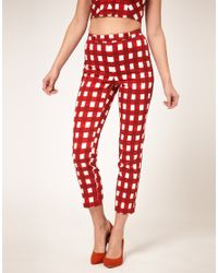 ASOS Collection | White Gingham Trousers | Lyst
