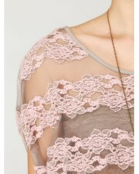 Free People - Pink County Fair Banded Bottom Lace Top - Lyst