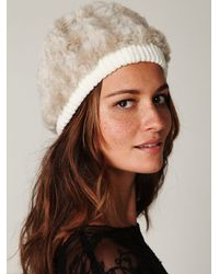 Free People - Natural Serbian Fur Beanie - Lyst