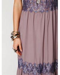 Free People | Purple Lace Stripes Maxi Dress | Lyst