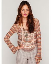 Free People | Natural Beachy Slouchy Pullover Sweater | Lyst