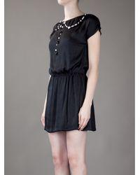 Love Moschino Black Beaded Collar Dress