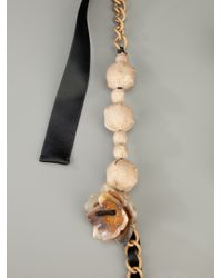 Marni Black Ribbon and Chain Necklace
