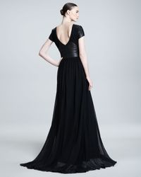 Pamella Roland - Black Leatherinset Gown - Lyst