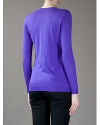 Ralph Lauren Black Label Purple V Neck Cardigan