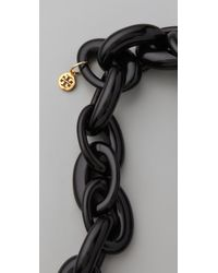 Tory Burch Black Resin Chain Necklace