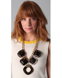 Tory Burch | Gold Resin Square Necklace | Lyst