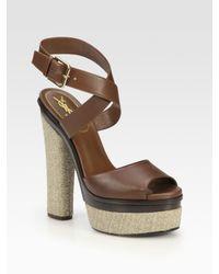 Saint Laurent | Brown Leather and Hemp Platform Sandals | Lyst