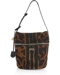 Alexander McQueen - Brown Padlock Printed Canvas and Leather Bucket Bag - Lyst