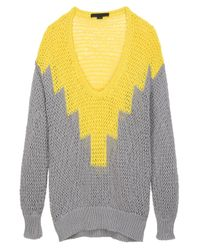 Alexander Wang | Yellow Hand Knit Intarsia Sweater | Lyst