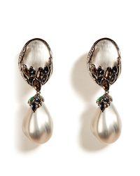 Alexis Bittar | Gray Grey Alexandria Pearl Drop Clip Earrings | Lyst