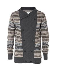 AllSaints | Gray Oslo Funnel Cardigan for Men | Lyst