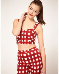 ASOS Collection | Red Asos Bra Top with Gingham Print | Lyst