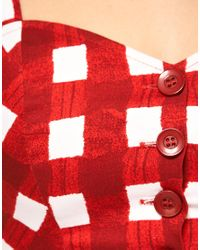 ASOS Collection - Red Asos Bra Top with Gingham Print - Lyst