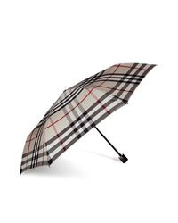 Burberry | Natural Trench Check Packable Trafalgar Folding Umbrella | Lyst