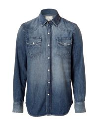 Current/Elliott | The Western Blue Washed Denim Shirt for Men | Lyst