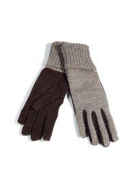 Dolce & Gabbana - Brown Mélange Wool/leather Gloves - Lyst