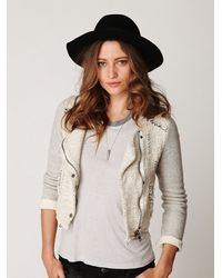 Free People | White Textured Zip Up Jacket | Lyst