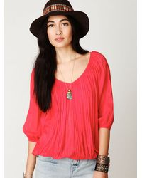 Free People | Red Fp One City Peasant Blouse | Lyst