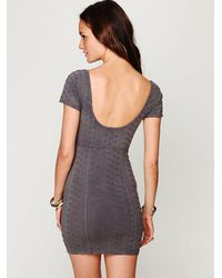 Free People - Gray Stretch Eyelet Bodycon - Lyst