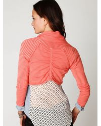 Free People - Pink Striped Crop Wrap Sweater - Lyst
