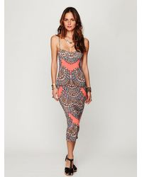 Free People - Natural Fitted Midcalf Dress - Lyst