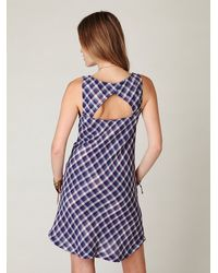 Free People | Blue Plaid Sleeveless Shirt Dress | Lyst