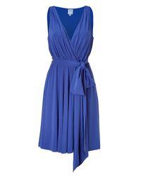 Halston - Ocean Blue Belted Swing Dress - Lyst