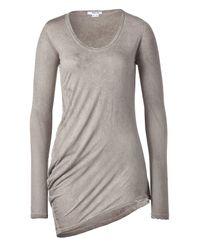 Helmut Lang | Gray Mud Long Sleeve Tie-dye Asymmetrical Top | Lyst
