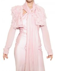 John Galliano - Pink Ruffled Silk Georgette Bolero Jacket - Lyst
