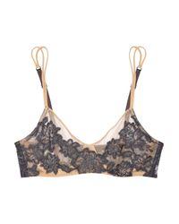 La Perla | Black Lace-appliquéd Stretch-mesh Underwired Bra | Lyst