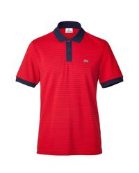 Lacoste | Red/marine Striped Polo Shirt for Men | Lyst