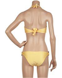 Melissa Odabash - Yellow Tortoiseshell-embellished Halterneck Bikini - Lyst