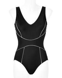 Spanx - Black Chic Trim Swimsuit - Lyst