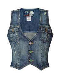 True Religion - Washed Blue Destroyed Vintage Denim Vest - Lyst