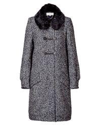 Vanessa Bruno | Blue Navy Tweed Coat With Fur Collar | Lyst