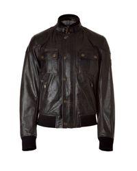 Belstaff | Let Antique Black Leather Bomber Jacket for Men | Lyst
