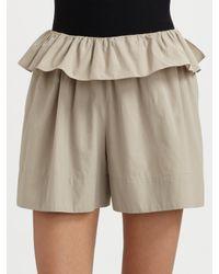 Chloé | Gray Cotton Peplum Shorts | Lyst