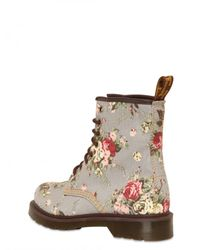 Dr. Martens | Gray Floral Print Canvas Lace Up Boots | Lyst