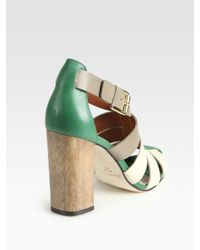 Elizabeth and James - Green E-Melia Colorblock Leather Sandals - Lyst