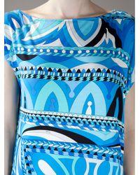 Emilio Pucci   Blue Cap Sleeved Dress   Lyst