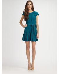 Gryphon - Blue Silk Pintucked Dress - Lyst