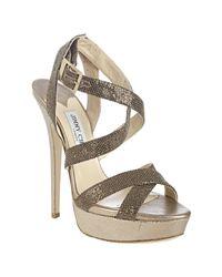 Jimmy Choo | Bronze and Silver Metallic Fabric Louisa Crisscross Platform Sandals | Lyst