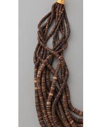 Kenneth Jay Lane Metallic Dark Wood & Bead Necklace