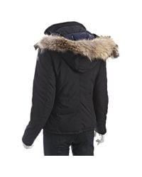 Moncler - Blue Navy Zip Front Amiens Fur Trim Hooded Jacket - Lyst