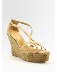 Oscar de la Renta - Natural Clara Cork And Leather Espadrille Sandals - Lyst